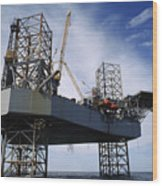 An Oil And Gas Drilling Platform Wood Print