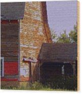 An Old Barn And Silo Wood Print