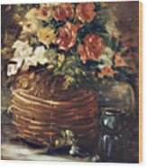 An Old Basket With Flowers Wood Print