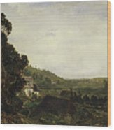 An Old Chapel In A Valley Wood Print