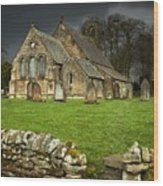 An Old Church Under A Dark Sky Wood Print