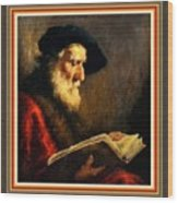 An Old Man Reading P B With Decorative Ornate Printed Frame. Wood Print