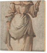 An Old Market Woman Grinning And Gesturing With Her Left Hand Wood Print