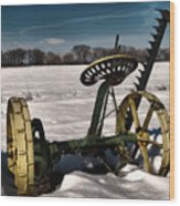 An Old Mower In The Snow Wood Print