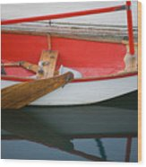 An Old Sailboat Tied To The Dock Wood Print