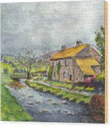 An Old Stone Cottage In Great Britain Wood Print