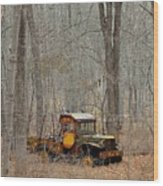 An Old Truck In The Woods. Wood Print