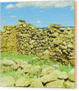 An Old Wall At The Pecos Ruins Wood Print