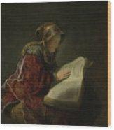 An Old Woman Reading - Prophetess Hannah Wood Print