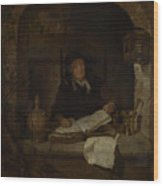 An Old Woman With A Book Wood Print