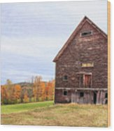 An Old Wooden Barn In Vermont. Wood Print