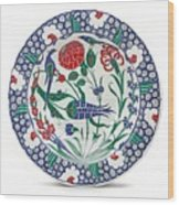 An Ottoman Iznik Style Floral Design Pottery Polychrome, By Adam Asar, No 1 Wood Print