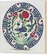 An Ottoman Iznik Style Floral Design Pottery Polychrome, By Adam Asar, No 1a Wood Print