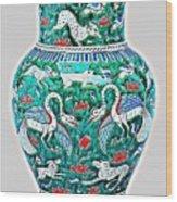 An Ottoman Iznik Style Floral Design Pottery Polychrome, By Adam Asar, No 7a Wood Print