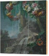 An Outdoor Scene With A Spring Flowing Into A Pool Wood Print