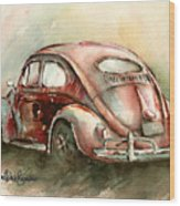 An Oval Window Bug In Deep Red Wood Print by Michael David Sorensen