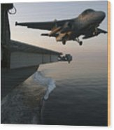 An S-3b Viking Clears The Flight Deck Wood Print by Stocktrek Images