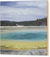 An Upper Geyser Basin At Chromatic Wood Print