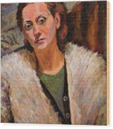 Ana In A Fur Coat Wood Print