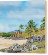 Anakena At Easter Island Wood Print