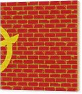 Anarchy Graffiti Red Brick Wall Wood Print