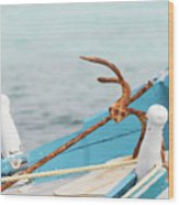 Anchor On A Boat In Maldives Wood Print
