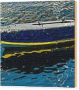 Anchored Boat Wood Print