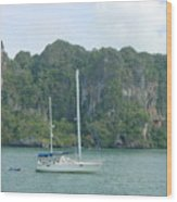 Anchored In Paradise Wood Print