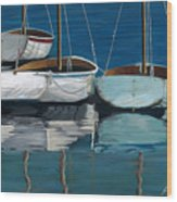 Anchored Reflections I Wood Print by Sharon Kearns