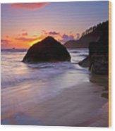 Anchoring The Beach Wood Print
