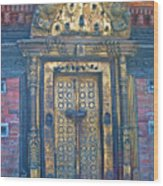 Ancient Door In Katmandu Nepal Wood Print