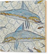 Ancient Greek Dolphins Wood Print