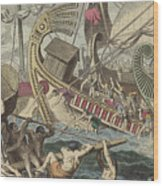 Ancient Greek Sea Battle Wood Print