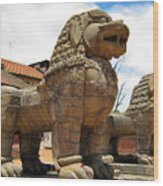 Ancient Lions In Nepal Wood Print