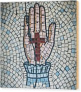 Ancient Mosaic Of A Hand And Cross Wood Print