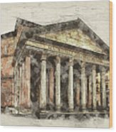 Ancient Pantheon Wood Print