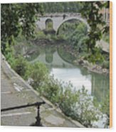 Ancient Roman Foot Bridge Wood Print