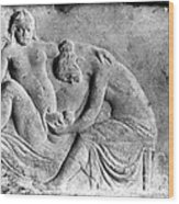 Ancient Roman Relief Carving Of Midwife Wood Print