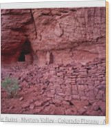 Ancient Ruins Mystery Valley Colorado Plateau Arizona 02 Text Wood Print