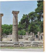Ancient Ruins Wide Columns Wood Print