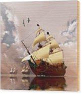 Ancient Ships Wood Print