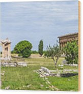 Ancient Temple At Famous Paestum Archaeological, Italy Wood Print