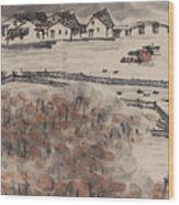 Ancient Town River Paintingancient Town River Painting Wood Print