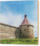 Ancient Wall And Tower Of The Fortress Oreshek Wood Print