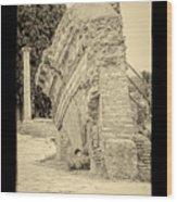 Ancient Wall Of Ostia Antica Wood Print
