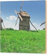 Ancient Windmills In Field Wood Print