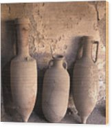 Ancient Wine Clay Vases  In A Wine Wood Print by Richard Nowitz