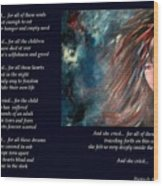 And She Cried - Poetry In Art Wood Print