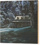 And The Lights Glowing Softly At Night Guide Us Home Wood Print