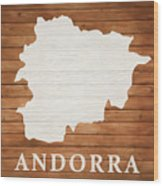 Andorra Rustic Map On Wood Wood Print
